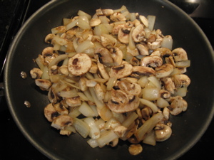 mushrooms and onions cooking