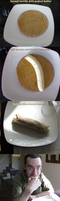 Tortilla peanut butter banana wrap