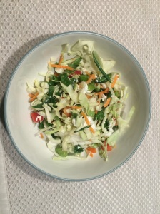 Cabbage, Feta, Bell Pepper, and Green Onion Salad