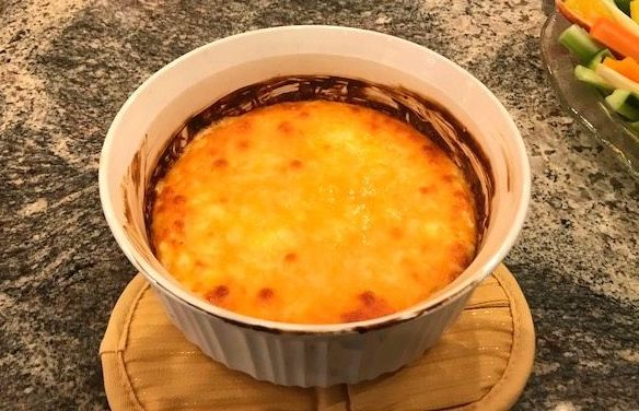 Final product, the cheesy onion dip