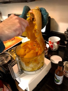 Butternut squash going into the food processor