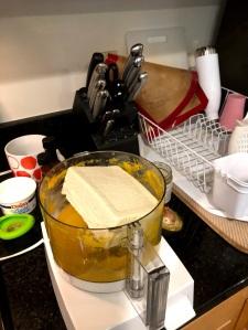 Tofu in a food processor